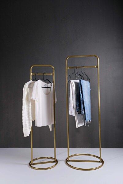 Metal Ayaklı Konfeksiyon Askılığı Gold Elbise Askılık 2'li