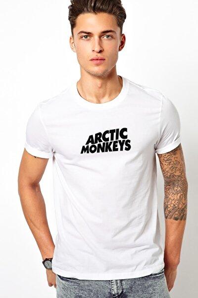 Monkeys Logo Baskılı Beyaz Erkek Örme Tshirt T-shirt Tişört T Shirt