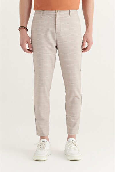 Erkek Bej Yandan Cepli Beli Lastikli Kareli Relaxed Fit Pantolon A11y3015