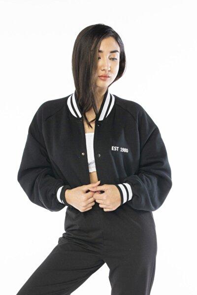 Kadın Siyah Oversıze Collage Ceket
