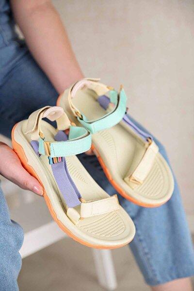 Kadın Su Yeşili Lila Bej Cırtlı Sandalet
