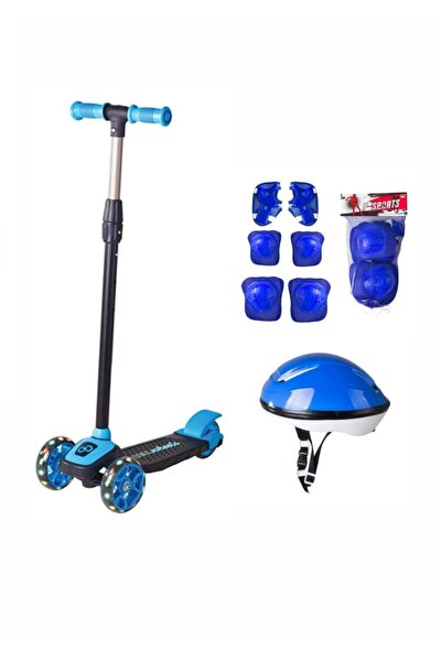 Unisex Çocuk Mavi Led Işıklı 3 Tekerlekli Twist Scooter Full Set