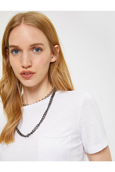 Kadın Beyaz Bisiklet Yaka Kısa Kollu T-Shirt 9YAL18636IK