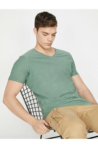 Erkek Yeşil V Yaka T-Shirt 9YAM12058LK