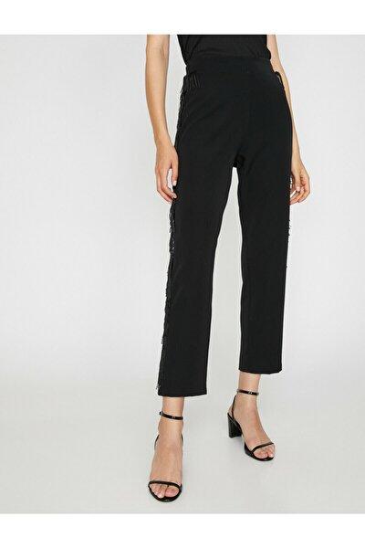 Kadın Siyah Püskül Detayli Pantolon 0KAK43859EW