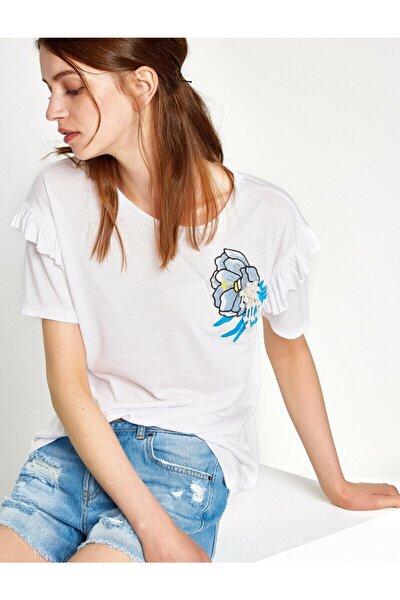 Kadın Beyaz T-Shirt 7YAK13680EK