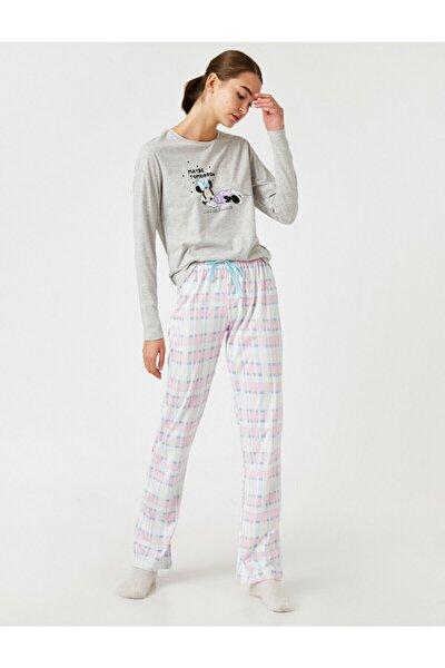 Kadın Gri Disney Lisanslı Pijama Takımı
