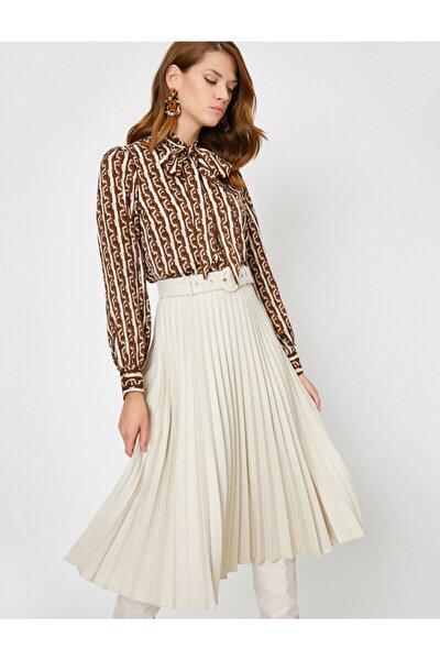 Kadın Kahverengi Yaka Detaylı Bluz 0kak68189pw