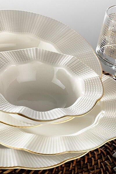 Milena Altın Yaldızlı 24 Parça Yemek Takımı Krem Mln24y214r520
