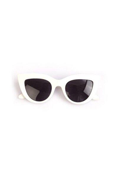 Kadın Beyaz Kalın Çerçeveli Tasarım Cat Eye Güneş Gözlüğü