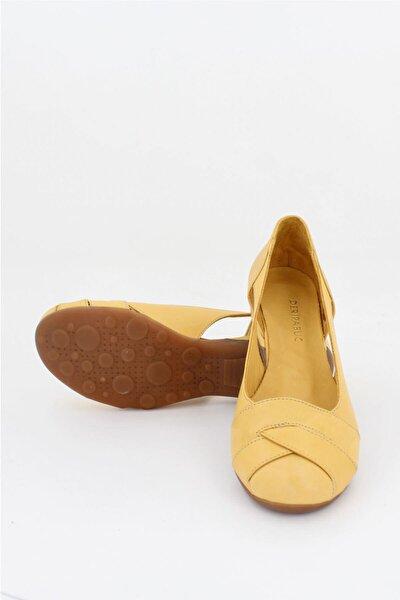 Hakiki Deri Sarı Kadın Deri Babet Trc-4000