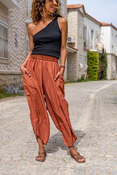 Kadın Kiremit Yıkamalı Keten Cepli Beli Lastikli Şalvar Pantolon GK-CCK58048