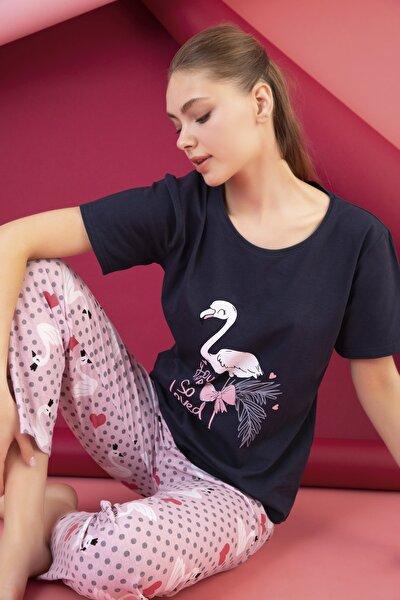 Kadın Lacivert Pamuklu Baskılı Pijama Takım