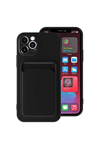 Apple Iphone 12 Pro Max Kılıf Lansman Dokulu Kamera Korumalı Kartlıklı Kart Bölmeli Yumuşak Silikon