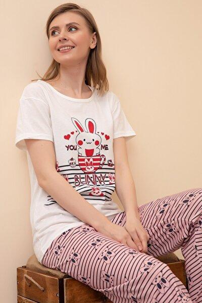 Kadın Kırmızı Kısa Kol Pijama Takımı