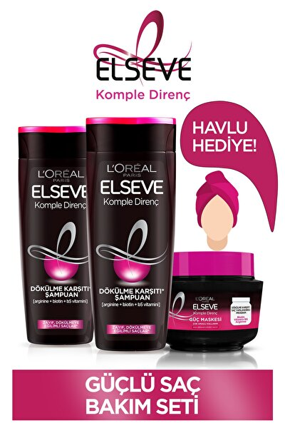 Komple Direnç Dökülme Karşıtı Şampuan 450 ml x2 &Dökülme Karşıtı Güç Maskesi &Saç Havlusu