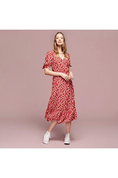 Kadın Kırmızı Çiçekli Kloş Midi Elbise