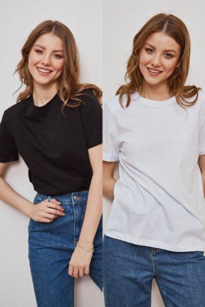 Kadın Siyah ve Beyaz 2'li Paket Bisiklet Yaka Vatkalı Pamuklu Yumuşak Dokulu Duble Kol Basic T-Shirt