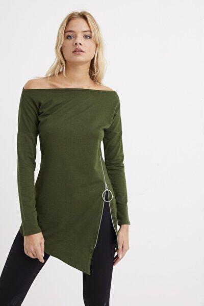 Kadın Haki Yandan Fermuarlı Kayık Yaka Elbise B157