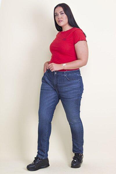 Kadın Lacivert 5 Cep Yıkama Efektli Likralı Kot Pantolon 65N17766