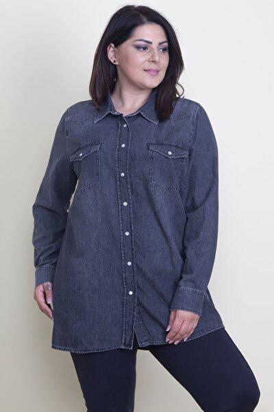 Kadın Antrasit Çıtçıt Düğmeli Tensel Kot Gömlek 65N17797