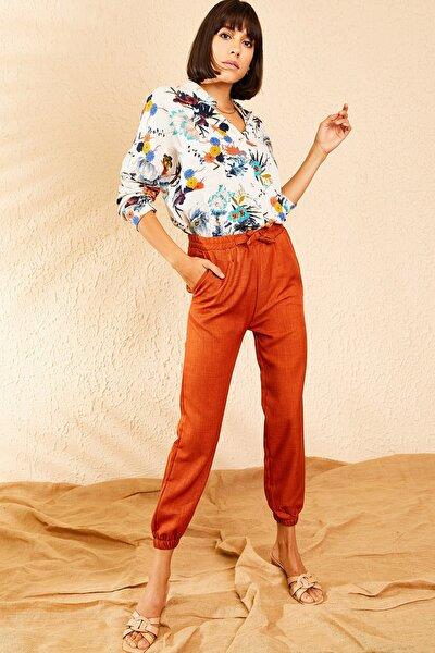 Kadın Kiremit Beli ve Paçası Lastikli Mevsimlik Rahat Pantolon 10111026