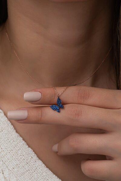 925 Ayar Minik Mavi Kelebek Kolye Kadın Gümüş Kolye