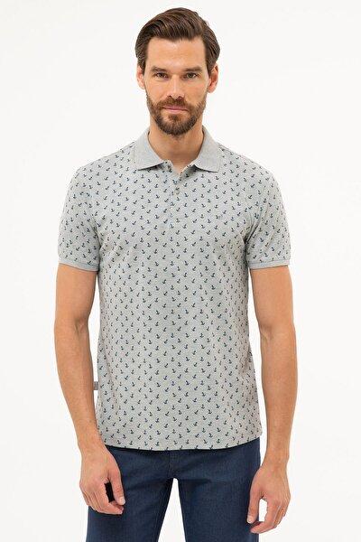 Erkek Gri Melanj Slim Fit Polo Yaka T-Shirt