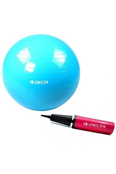 65 Cm Mavi Deluxe Pilates Topu Ve Çift Yönlü Pompa Seti