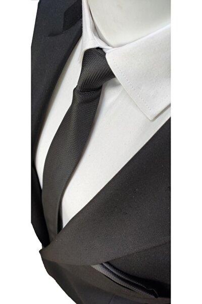 Siyah Renk Armürlü Dokuma Kravat Ve Mendil