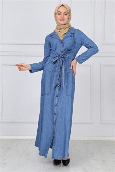 Kadın Açık Kot Mavi Ceket Yakalı Tesettür Kot Ferace