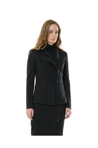Kadın Lacivert Çizgili Yarım Fermuar Corine Ceket