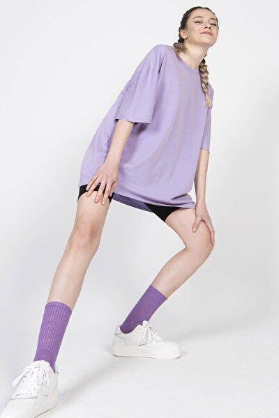 Kadın Eflatun Basic Tişört P9439 - A1 ADX-0000022241