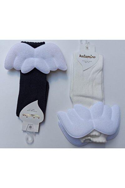 Lacivert Arkası Melek Kanatlı Dizaltı Çorap 2 Adet
