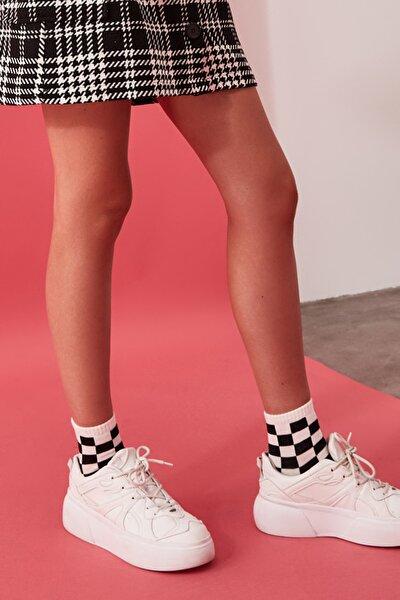 Çok Renkli 3'lü Damalı Örme Çorap TWOSS20CO0052
