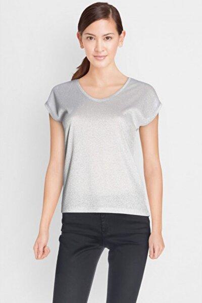 Kadın Gri Kısa Kollu V Yaka T-Shirt 15136069 ONLSILVERY