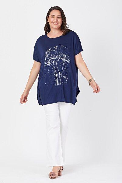 Kadın Lacivert Salaş Deste Çiçek Baskılı Büyük Beden T-shirt