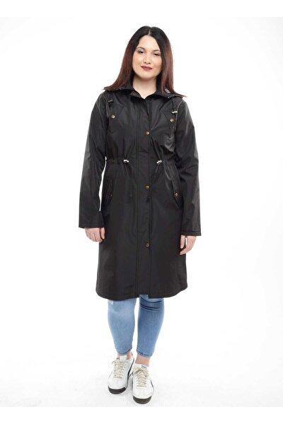 Kadın Siyah Yağmurluk, Trençkot