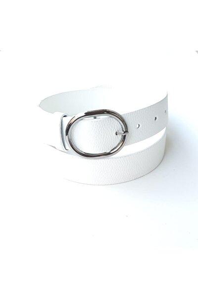 Kadın Beyaz Gümüş Oval Tokalı Kemer