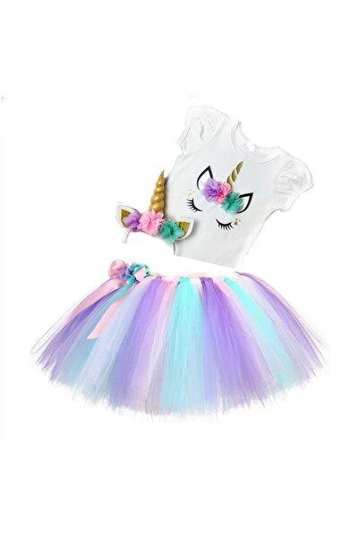 Unicorn T-shirt,renkli Tütü Etek,unicorn Taç,doğum Günü