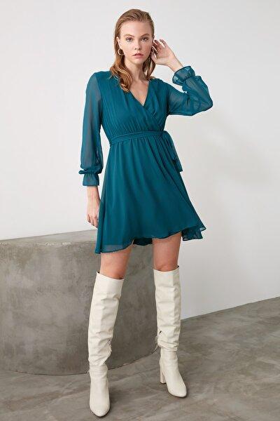 Zümrüt Yeşili Kuşaklı Elbise TWOAW20EL0789