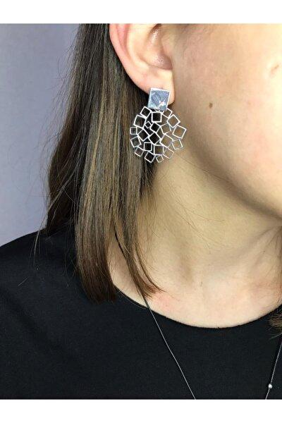 Kadın Gümüş Geometrik Desenli Küpe