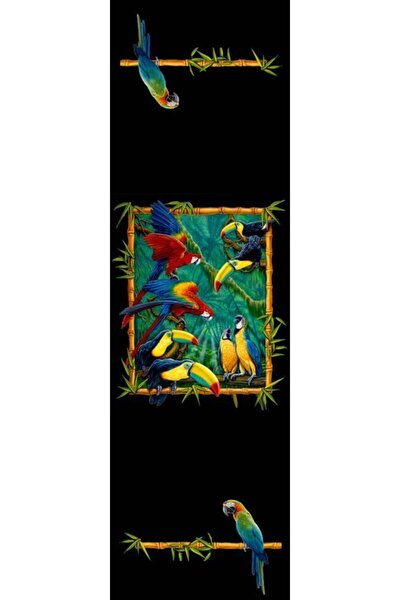 Papağanlar Siyah Zeminde Runner