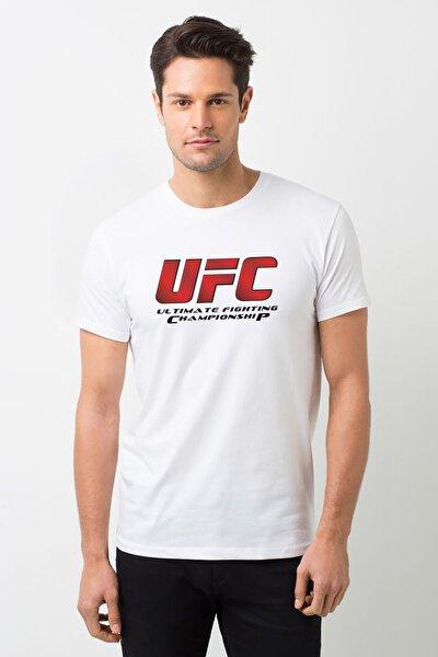 Ufc Ultimate Fighting Championship Logo Baskılı Beyaz Erkek Örme Tshirt