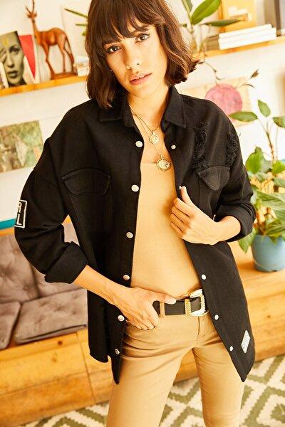 Kadın Siyah Sökük Ve Patch Detaylı Kalın Gömlek CKT-19000169