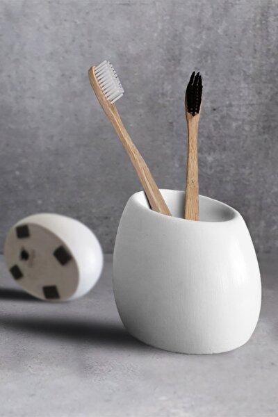 Eliptik Beton Diş Fırçalık - Kırık Beyaz