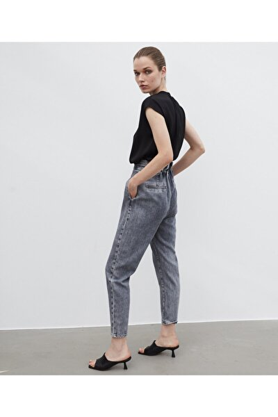 Kadın Gri Yüksek Bel Jean Pantolon