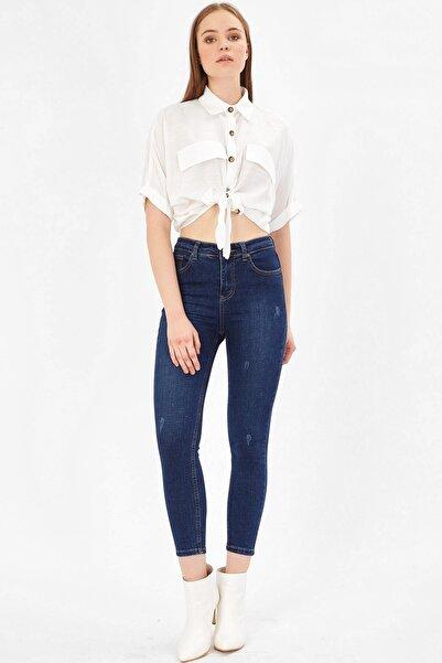 Tırnaklı Yüksek Bel Pantolon - Orta Mavi