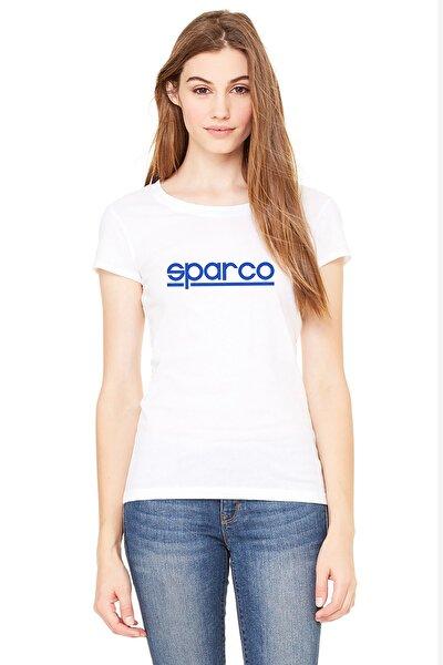Sparco Logo Baskılı Beyaz Kadın Örme Tshirt