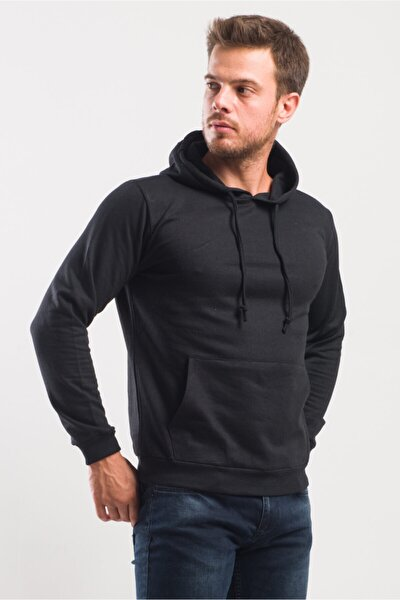 Erkek Siyah Basic Kanguru Cepli Kapüşonlu Sweatshirt